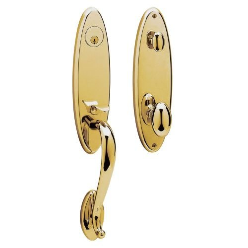- Baldwin 85360.ENTR Blakely Single Cylinder Handleset with Egg Interior Knob and, Non-Lacquered Brass