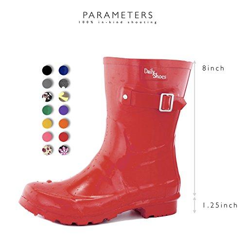 Dailyshoes Donna Metà Polpaccio Fibbia Alla Caviglia Alta Cacciatore Pioggia Punta Tonda Rainboots Rosso