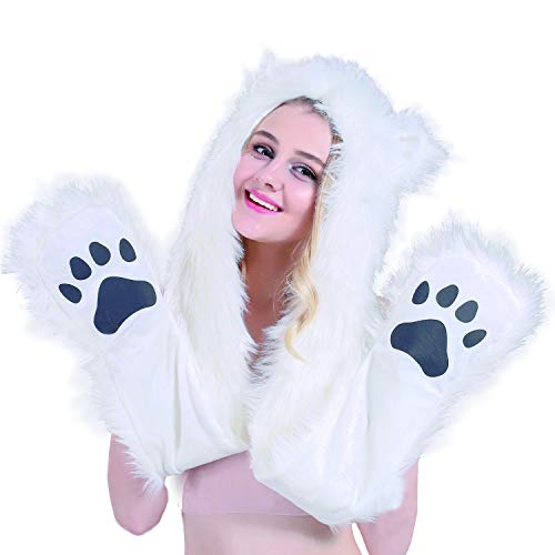 All White Animal Hat Spirit Hood Full Hat Scarf Pockets s 3 in 1 Ear Flat Cap Hoodie Furry Gloves Paws Mittens Party Costume Gift for Women Men Adult Teen ()