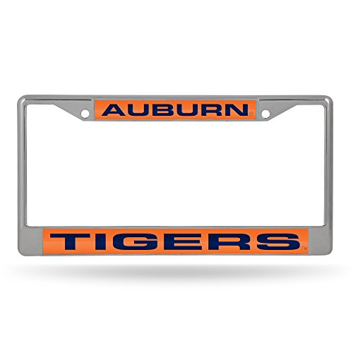 NCAA Auburn Tigers Laser Cut Inlaid Standard Chrome License Plate Frame, Chrome ()