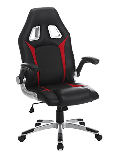 SEATZONE Racing Car Style Gaming Chair with Thick Padded Bucket Seat and Flip-Up Armrest for Home, Office, Video Game Room, Computer Desk, Leatherette, Red ()