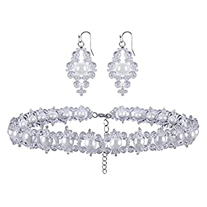 VIJIV Women's Imitation Pearl Bridal Necklace and Earrings Jewelry Set Silver Beads for Wedding Prom Party Dresses