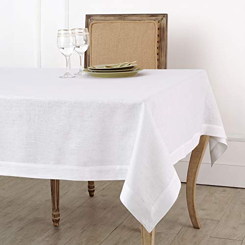 Solino Home 100% Linen Tablecloth - 60 x 108 Inch White, Natural Fabric, European Flax - Athena Rectangular Tablecloth for Indoor and Outdoor use ()