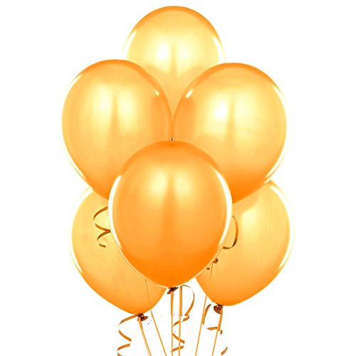 10 Inch Pearlized Latex Balloons (Premium Helium Quality), Pack of 100, Metallic Gold, for Bridal Shower Wedding Birthday Party Decorations Supplies ()