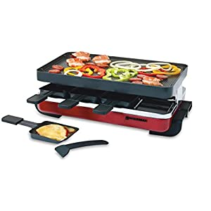 Swissmar KF-77043 Classic 8-Person Raclette Party Grill with Reversible Cast Aluminum Non-Stick Grill Plate/Crepe Top Red Enamel
