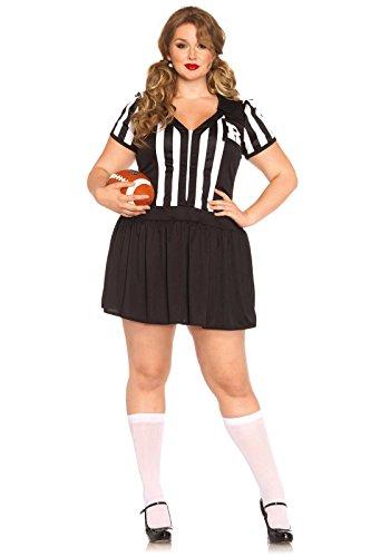 [Leg Avenue Women's Plus-Size Halftime Hottie Referee Costume, Black/White, 1X] (Referee Costume Plus Size)