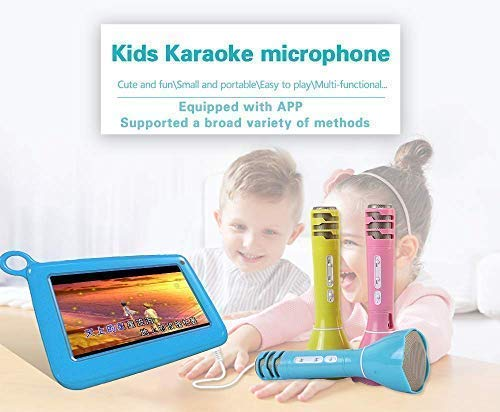 Kids Microphone Wireless Portable Karaoke Speaker Bluetooth Handheld Karaoke Machine Sing Equipment for Party/Home/Outdoors Kids Birthday Gift Compatible with Android/IOS Smartphone and Pad (Blue) by IWAWA (Image #1)