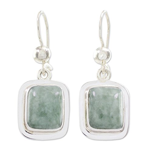 NOVICA Green Jade and .925 Sterling Silver Rectangular Dangle Earrings, Modern -
