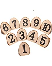 Wooden Table Number,1-10 Rustic Wood Section,Wedding Party Home Christmas Decoration,Vintage Decor Catering Reception for Birthday Event Banquet Anniversary,10 Pack