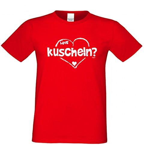 Outfit für Verliebte - LOVE - kuscheln - T-Shirt mit herzlichem Motiv als romantisches Geschenk - in Rot