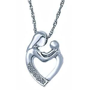 Amazon.com: 10K White Gold Diamond Mother and Child ...