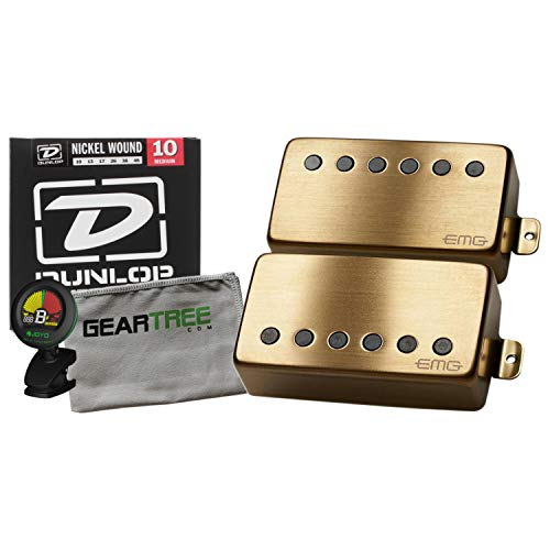 EMG JH James Hetfield Humbucker Pickup Set Gold w/Geartree Cloth, Tuner, and St