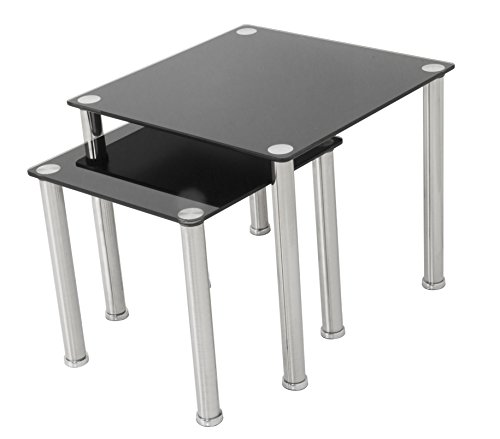 AVF T32-A Black Glass & Chrome Square Side Table/Lamp Table/End Tables, Set of 2