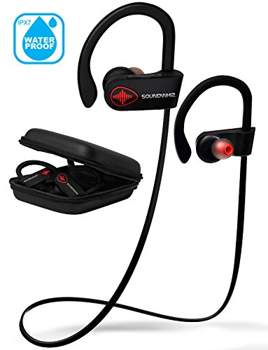 Wireless Bluetooth Running Headphones - SoundWhiz Noise Cancelling Waterproof Workout Earbuds - w Mic & Siri. Best Sport Headphones 8 Hours Play