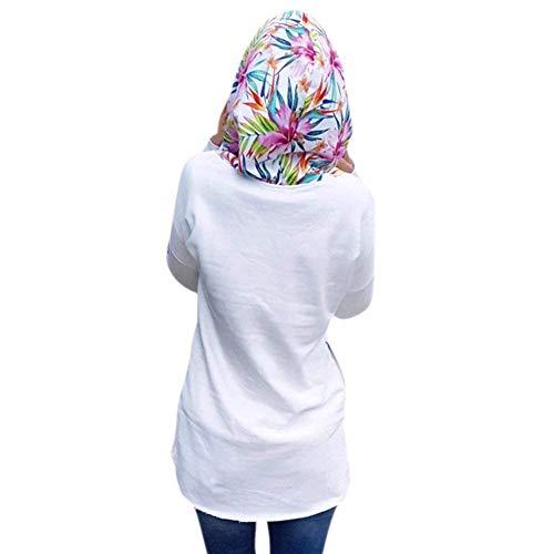 Tasche Tasche Elegante Baggy Donna Donna Donna Hoodies Lunga Stampate Moda Felpa Ragazza Pattern Bianca Accogliente Cappuccio Laterali Casual Hoodys Autunno Pullover Chic Manica con qECxww6fIP