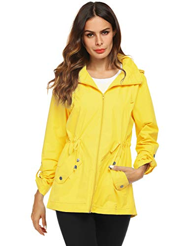 (Avoogue Trench Raincoat Women Polyester Outdoor Jacket Yellow)