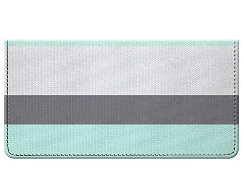 Fabric Black Checkbook Cover (Snaptotes Seafoam Gray Thick Stripe Design Checkbook Cover)