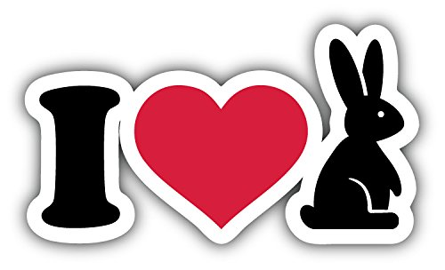 - I Love Bunny Art Decor Car Bumper Sticker 5'' x 3''