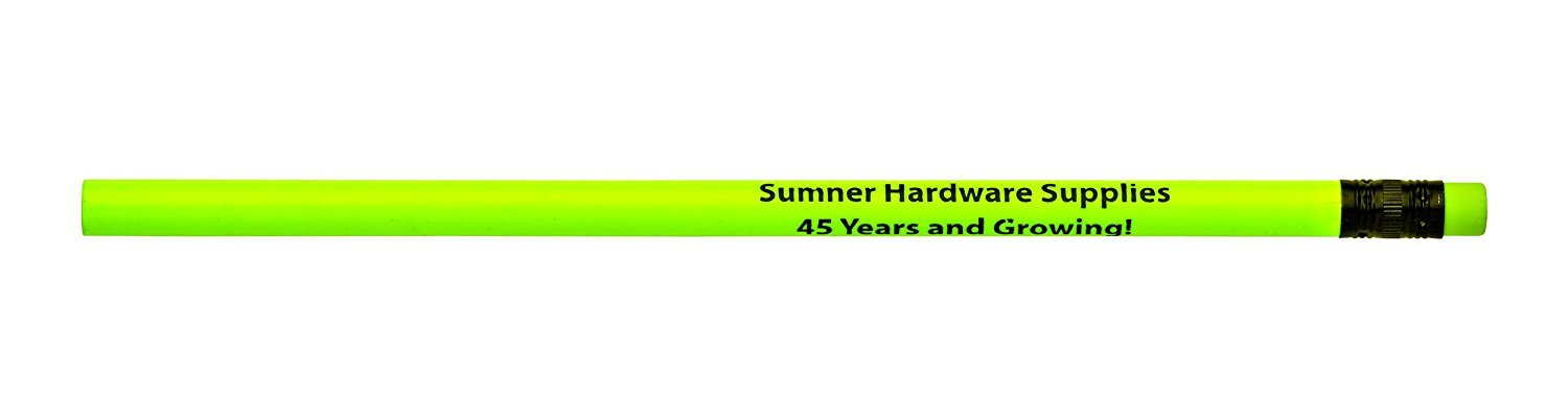 Pencil Guy Promotional Personalized Imprinted Neon Round Pencils- 1000 per Box Yellow