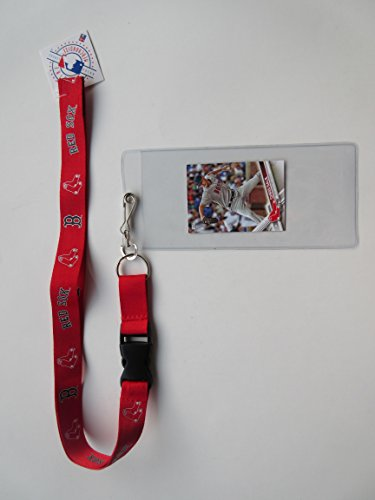 BOSTON RED SOX RED LANYARD WITH TICKET HOLDER & COLLECTIBLE PLAYER CARD (Sox Red Tickets)