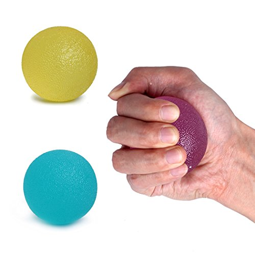 Stress Ball, 3 Pack Squishy Relief Grip Balls Hand Therapy Grip Squeeze Grape Balls Hand Exercise Ball Finger Strengthener Ball Tear Resistant Non-Toxic Latex-Free (Round, Green, Blue, ()