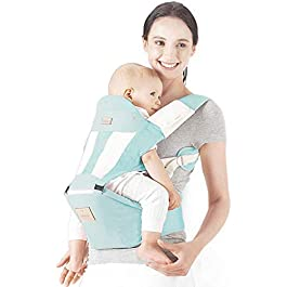 YXF Baby seat Comfortable and Breathable Baby Carrier, Baby Carrier Front and Back, Suitable for 0-36 Months Baby, Waist 67-118 cm,Blue (Color : Green)