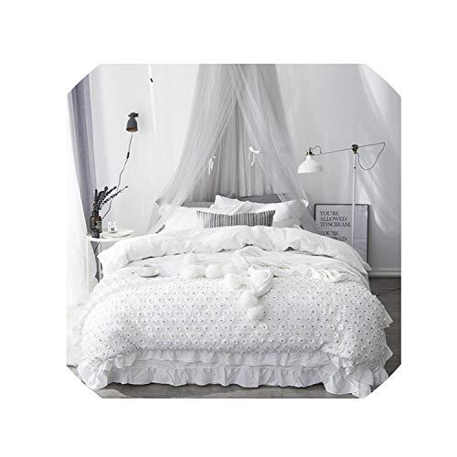 (100% Cotton Lace Princess Bedding Set Gray White Pink Twin Queen King Size Bed Sheet Set Duvet Cover,Bedding Set 2,Twin Size 3Pcs)