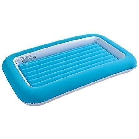 JILONG Hinchable de Seguridad para niños colchón Hinchable (Parte Superior Acolchada Kiddy Toddlers Camping Cama de Aire colchón de Viaje (Azul)
