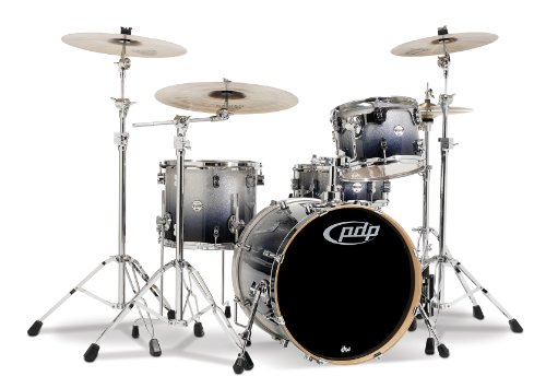 Pacific Drums PDCM2014SB 4-Piece Drumset with Chrome Hardware - Silver to Black Fade ()