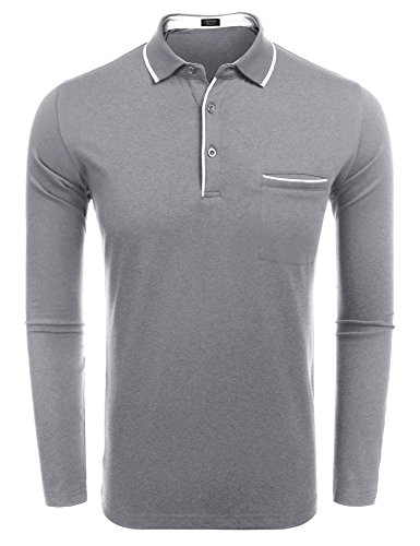 COOFANDY Men's Long Sleeve Polo Shirt Classic Causal Business Slim Fit Cotton Short Sleeve Polo T Shirts