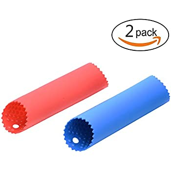 [Upgraded Version] Maxracy 2 Set Garlic Peeler Silicone Easy Roll Tube Useful Garlic Odorfree Kitchen Tool (Color: Red,Blue)