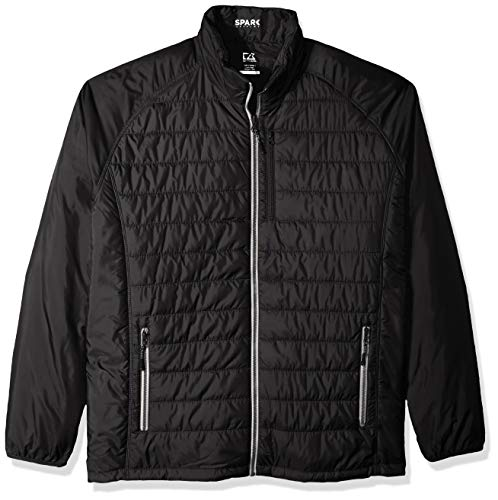 (Cutter & Buck Men's Big and Tall B&t Spark Systems Packable Barlow Pass Quilted Jacket, Black,)