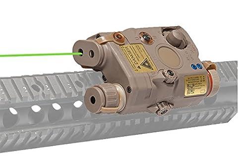 Tactical Laser AN/PEQ-15 L.E.D. White Light + Green Military Laser w/IR Lens (DARK EARTH) - Ar 15 Tactical Flashlights