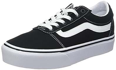 Vans Womens Ward Platform Canvas Black White Trainers 9.5 US