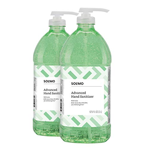 Amazon Brand - Solimo Advanced Hand Sanitizer with Aloe and Vitamin E, 2 Liters (Pack of 2) from Solimo