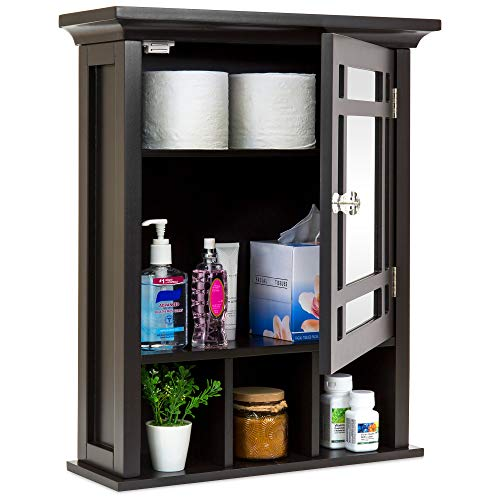 Best Choice Products Home Bathroom Vanity Mirror Wall Organizational Storage Cabinet - Espresso ()