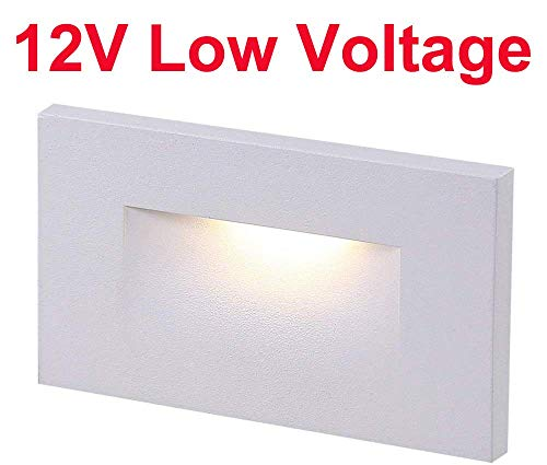 Cloudy Bay 12V Low Voltage LED Step Light,3000K Warm White,Stair Light,White Finish