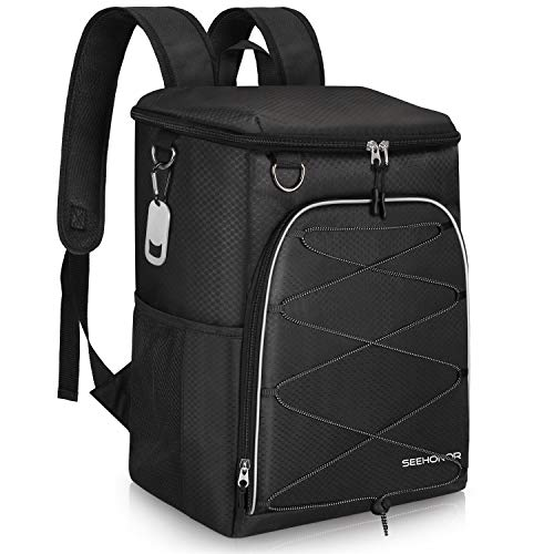 - SEEHONOR Insulated Cooler Backpack Leakproof Soft Cooler Bag Lightweight Backpack Cooler for Lunch Picnic Fishing Hiking Camping Park Beach, 25 Cans