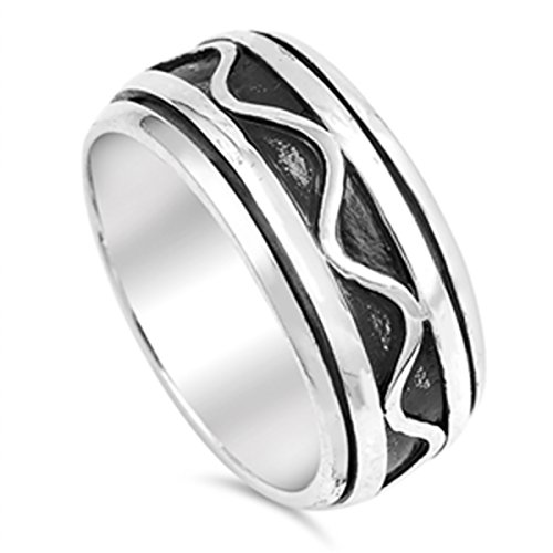 925 Sterling Silver 9mm Oxidize Finish Wave Pattern Spinner Ring -SZ: 11 -