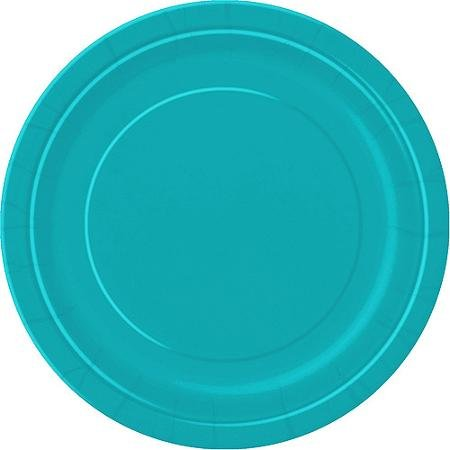 9' Square Teal Paper Plates, 20 Count