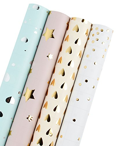 LaRibbons Gift Wrapping Paper Roll - Polka Dots/Stars/Hearts (2 Kinds) Design for Birthday, Mother Day, Valentine's Day, Wedding, Baby Shower Gift Wrap - 4 Rolls - 30 inch X 120 inch Per Roll -