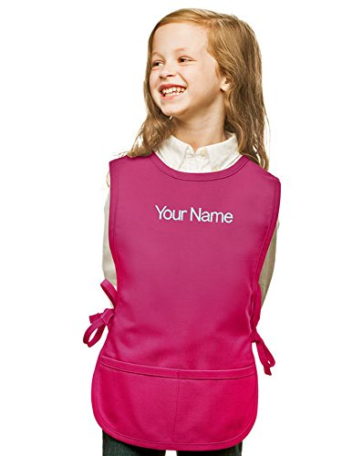 Personalized Hot Pink Kids Art Smock, Cobbler Apron, Poly/Cotton Twill Fabric (Regular)