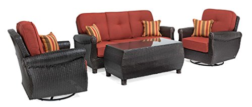 (La-Z-Boy Outdoor Breckenridge 4 Piece Resin Wicker Patio Furniture Conversation Set (Brick Red): Two Swivel Rockers, Sofa, and Coffee Table with All Weather Sunbrella)