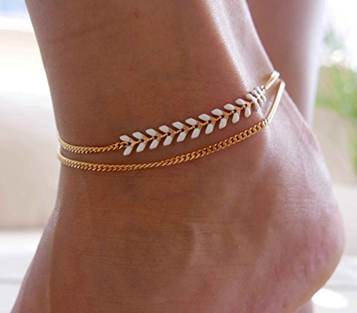 - Handmade Gold Anklet For Women Set With White Arrow Chain By Galis Jewelry - Gold Ankle Bracelet For Women - Arrow Anklet - Arrow Ankle Bracelet