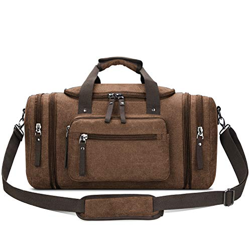 Toupons Canvas Travel Duffel Bag Men's Weekender Overnight Bag (Coffee) from Toupons