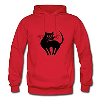Style Personality Women The Cat Painting X-large Hoody Red