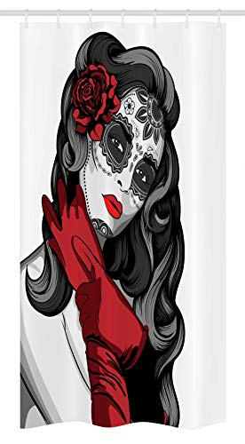(Ambesonne Skull Stall Shower Curtain, Sexy Sugar Skull Lady with Mexican Style Floral Mask Evil Gothic Dead Art, Fabric Bathroom Decor Set with Hooks, 36 W x 72 L Inches, Grey White Black Red)