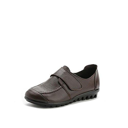 Planos Mujer tamaño Grandes Mujer tamaño Cuero Gran 2018 otoño de Primavera Mediana Individuales Marrón de de Madre Edad Zapatos y 35 Marrón Zapatos de Zapatos Zapatos Color de Mujer de de Yq5fT
