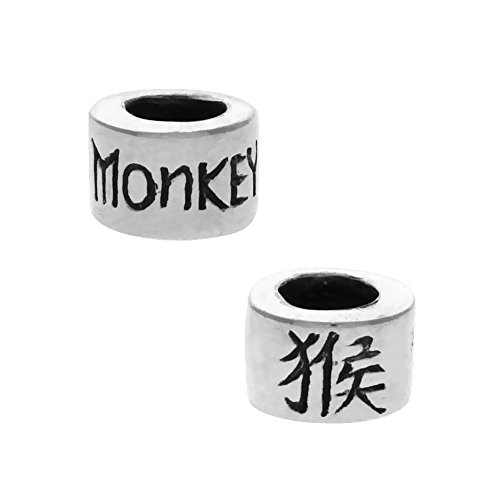 (Sterling Silver Chinese Zodiac Year of The Monkey Bead Charm for most Charm Bracelets)
