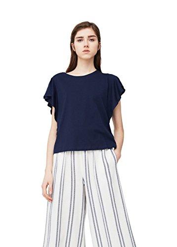 mango-womens-ruffled-sleeve-t-shirt-navy-m